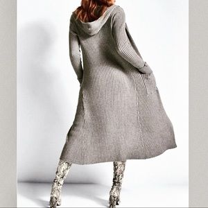 VENUS plus size ribbed hooded cardigan duster